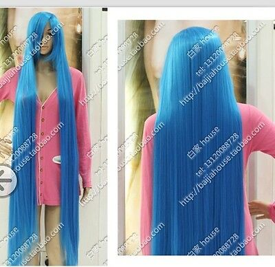 """women""""s Cos Sky Blue  long straight  cosplay Heat-Resistant  WIG  150cm  +gift"""