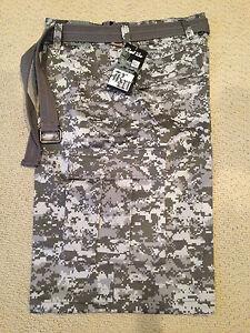 8f80df4980 NWT Men's Regal Wear Gray Digital Camouflage Camo Belted Cargo ...