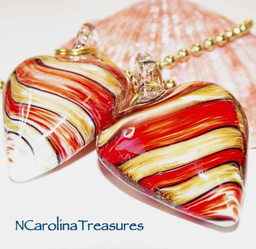 TRENDY ART GLASS CEILING FAN SWITCH PULL RED TAN STRIPE HEART HEARTS LARGE PAIR