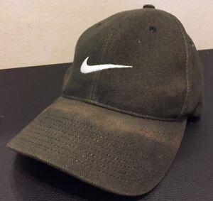 e67422b204ef3 Details about Vintage Nike Swoosh Snapback Black Hat Adult One Size