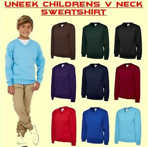UNEEK UC206 Personalised Children Jumper Embroidered School V Neck Sweatshirt