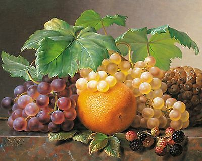 "Dufex Foil Picture Print - A Still Life of Fresh Fruit - size 21""x17"" LargePrint"