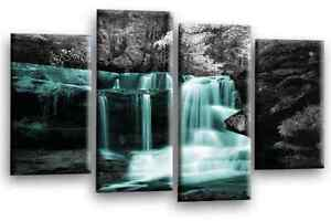 Forest Waterfall Art Picture Duck Egg Grey Trees Landscape Canvas Wall 112 cm