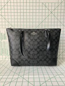 7df4f456a917 Coach F29208 Zip Top Tote In Signature Coated Canvas Black Smoke ...