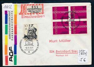 11032) Spécial R-ticket De Düsseldorf 4. Europ. Adbs-jours..., Lettre Sst 6.11.71 Vbl-afficher Le Titre D'origine