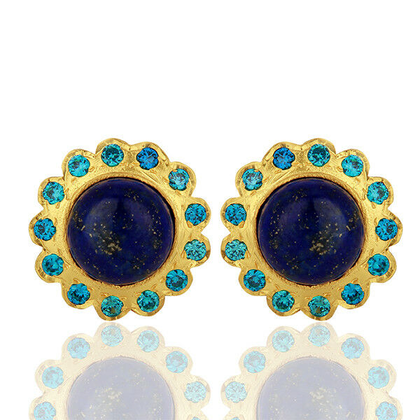Lapis Lazuli Womens Stud Earrings 18k Gold Plated Brass Fashion Jewelry
