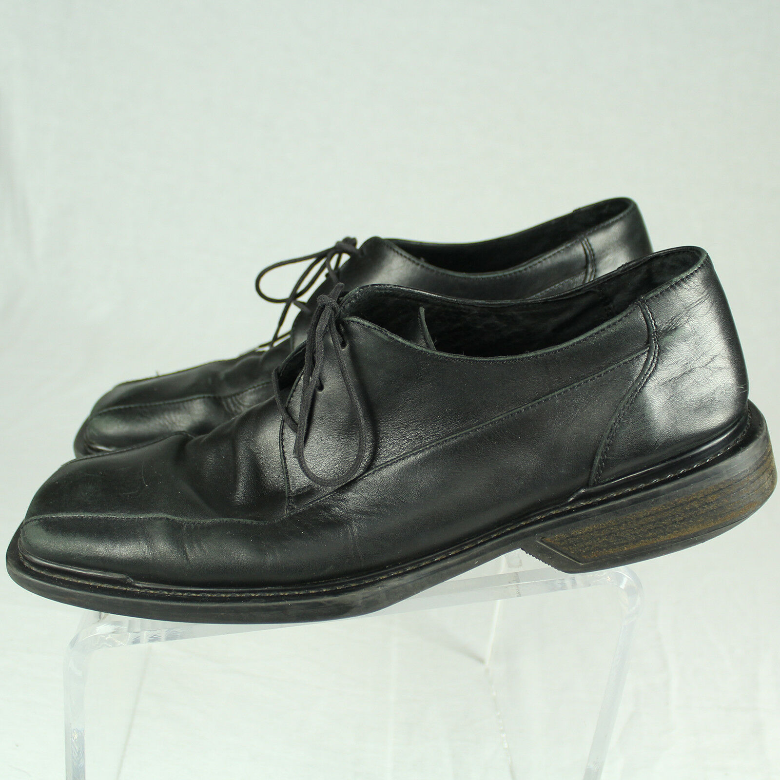 Kenneth Cole Reaction Black Leather Bicycle Square Toe Lace-Up Italy Shoe 10.5