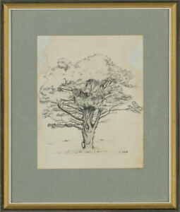Early-20th-Century-Pen-and-Ink-Drawing-Study-of-a-Tree