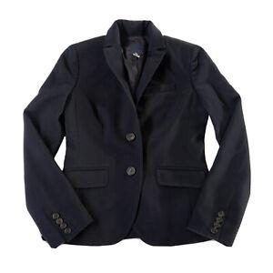 J. Crew Women's 100% Wool Gray Lined School Boy Blazer Jacket in Navy, Size 2.
