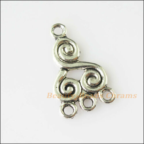 8Pcs Antiqued Silver Tone Chinese Knot Charms Pendants Connectors 12.5x21mm