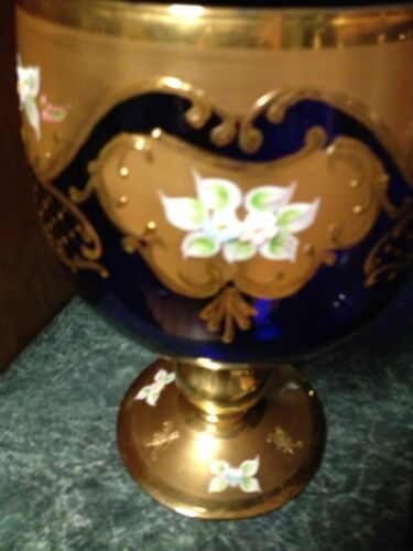 Vintage Murano Glass Vase Huge Footed Bowl 24k Gold Overlay Flowers