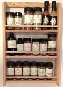 Solid-OAK-Wooden-Spice-Rack-20-5-034-H-x-13-75-034-W-Wall-Mount-Spice-Organizer
