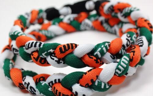 "PACK OF TWO 20/"" 3 Rope Twist Green Orange White Titanium Sports Necklace Tornado"