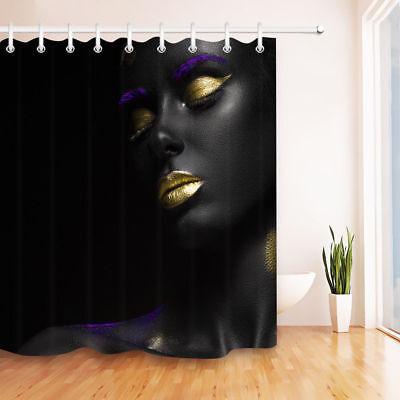 Makeup Gold Lips Purple Eyebrow Black