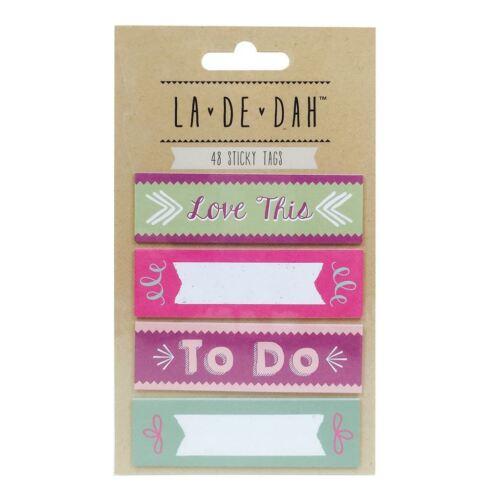 La De Dah Scrapbook Creative Journalling Embellishment Sticky Tags 48pk
