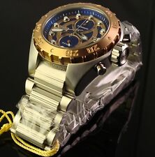 NEW MENS INVICTA 48MM S.S. TOURING CHRONO-ROSE GOLD TONE BEZEL WITH  BLUE DIAL