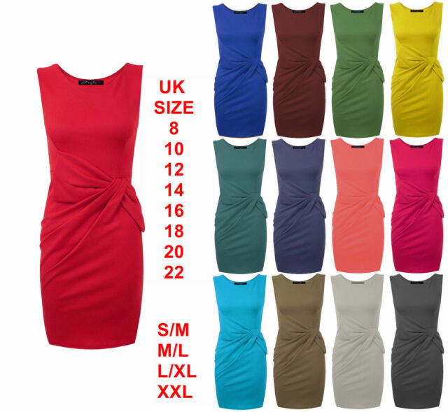 New Womens Ladies Sleeveless Pleated Big Bow Detail Shift Bodycon Dress 8-22