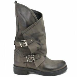 Dettagli su Stivali Stivaletti Biker Boots Donna Fibbie Vera Pelle Nabuk Grigio Made Italy