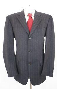 JOOP-Anzug-Flanell-Gr-52-grau-Kreidestreifen-Einreiher-3-Knopf-C90