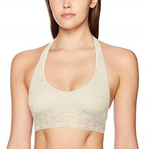 de873c742e4b7 Calvin Klein Bare Lace Halter Bralette Unlined Bra Size L QF4044 Ivory for sale  online