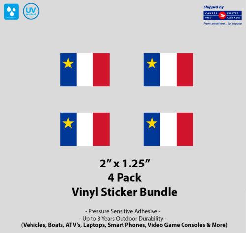 "Pack 2/"" x 1.25/"" Acadian Flag Vinyl Stickers 4"