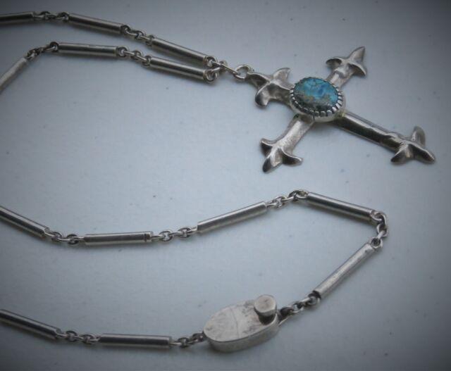 "Taxco Mexico Antonio Pineda 21"" Sterling Silver Stone Cross Pendant Necklace"
