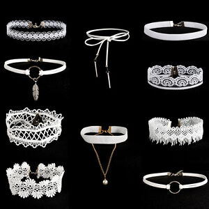 10Pcs-Set-White-Flower-Lace-Velvet-Choker-Collar-Necklace-Pendant-Chain-Jewelry