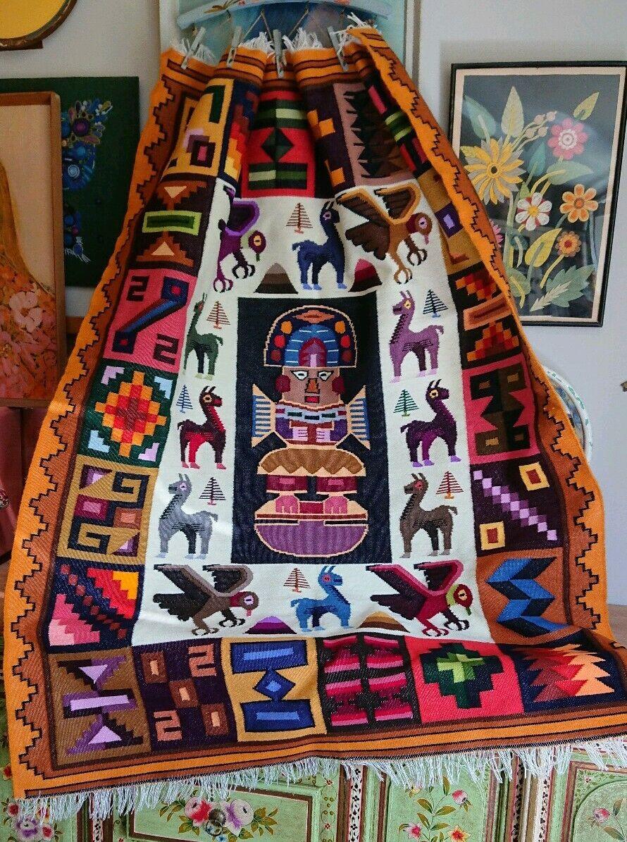 VINTAGE 1970s Peruviano Inca Tribale Etnico LLAMA Tappeto 144cm x 110cm Kilim Retrò
