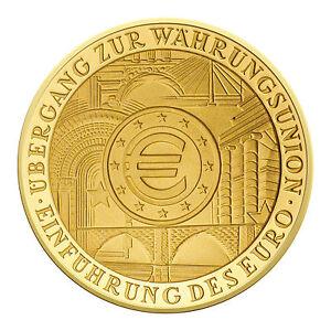 Deutschland 100 Euro Gold 1/2 oz Währungsunion 2002 im Etui mit Zertifikat, F