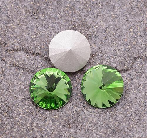 6x Briques de verre cabochons pour coller Bijoux À faire soi-même Bricolage 12 mm vert clair rond jz005
