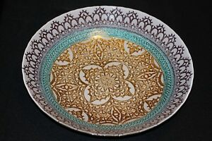 Murano-Italian-Art-Glass-Plate-or-Bowl-Large-Size-Medieval-Tapestry-Design