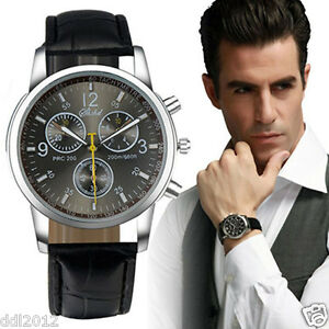 Luxury-Men-039-s-Fashion-Leather-Band-Military-Sport-Chronograph-Quartz-Wrist-Watch