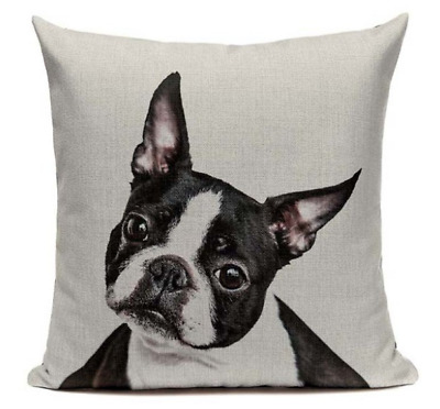 Boston Terrier B2 Cushion Pillow Cover Cartoon Pet French Bulldog Handmade Case