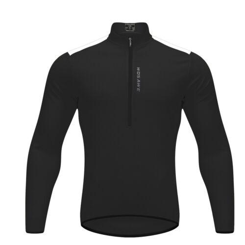 Men Cycling Jersey Half Zipper Long Sleeve Reflective Bike Tops Breathable M-3XL