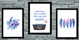 Bathroom-set-of-3-wall-prints-poster-bath-UK-art-Pictures-A4-Blue-Purple