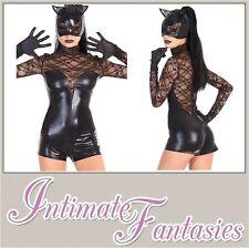 Sexy Black Vinyl Cat Costume Fancy Dress Outfit Catsuit Jumpsuit Size 8 10 12