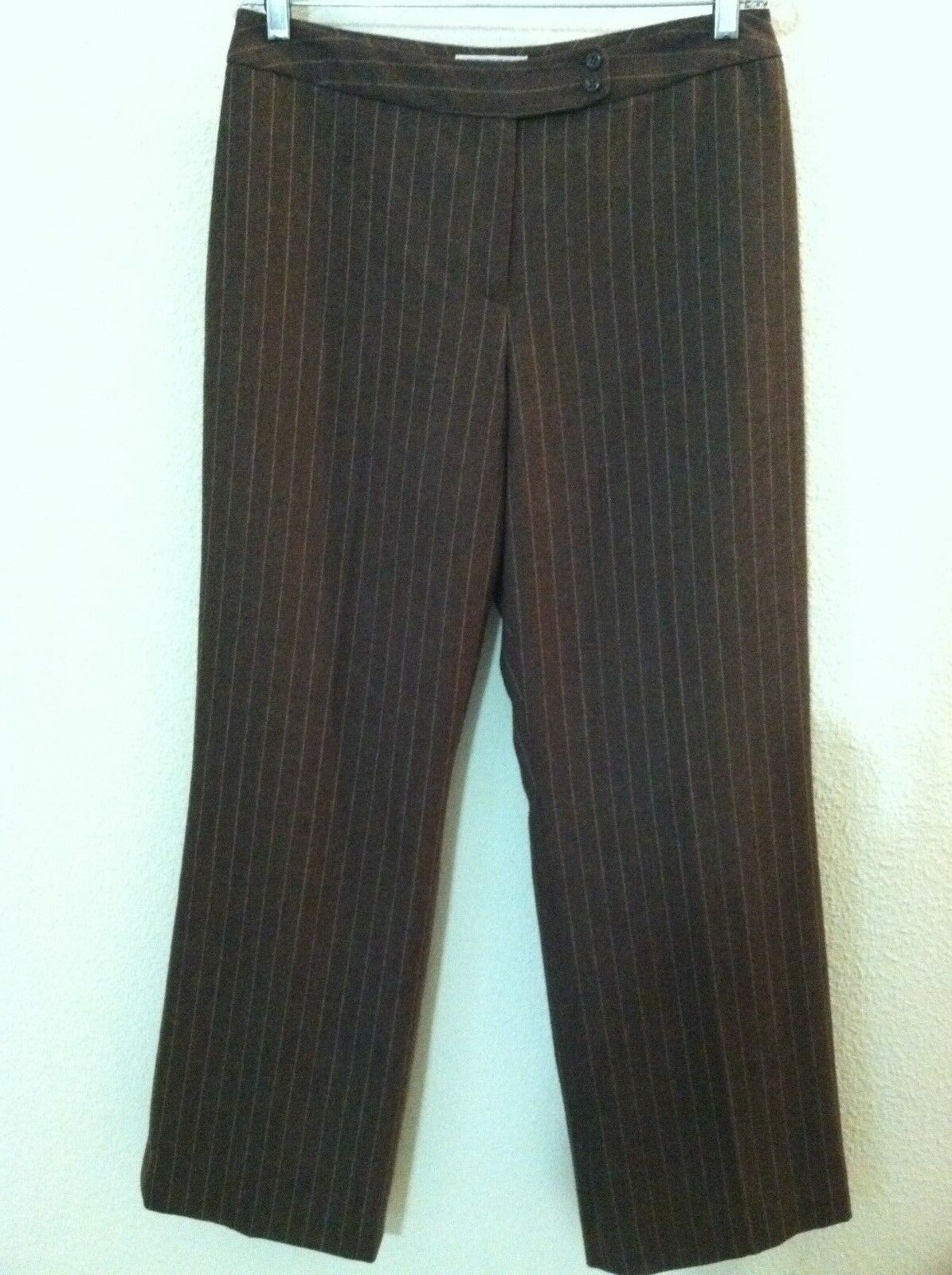 10 Pendleton women wool pant brown pinstripe lined 100% virgin wool size