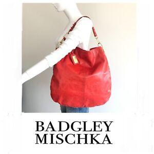 BADGLEY MISCHKA Gaia Dark Orange Smooth Leather Hobo Slouch Shoulder Bag.