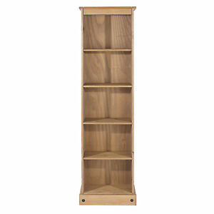 Premium-Corona-Solid-Pine-Tall-Narrow-5-Shelf-Bookcase-with-3-Adjustable-Shelves