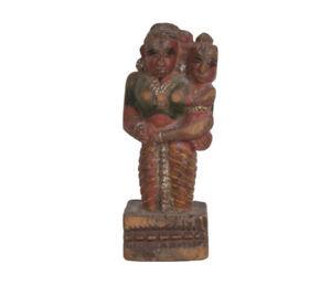 Indien-20-Jh-Holzfigur-A-Southern-Indian-Wood-Figure-Of-Yashoda-amp-Krishna-Inde