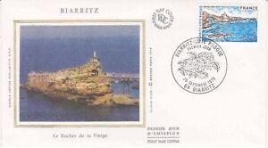 Enveloppe-maximum-1er-jour-FDC-Soie-1976-Biarritz-Le-Rocher-de-la-Vierge