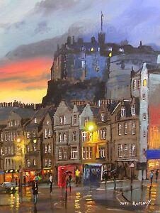 PETE-RUMNEY-FINE-ART-BUY-ORIGINAL-PAINTING-CANVAS-LONG-EDINBURGH-CASTLE-SCOTLAND