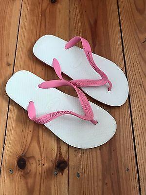 Havaianas niñas rosa/blanco Flip Flop UK1-2 (EUR33-34)