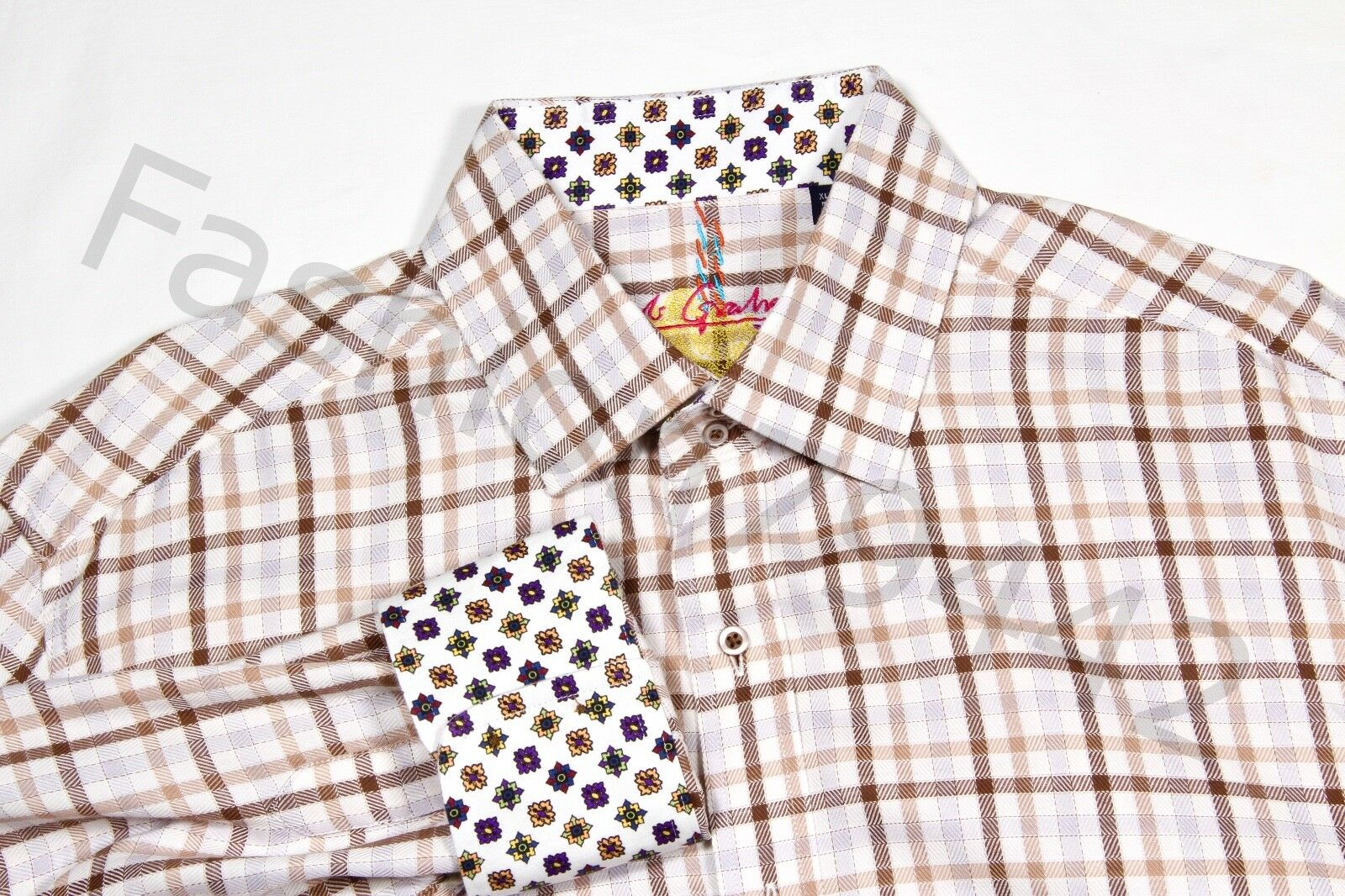 ROBERT GRAHAM Shirt Hommes XL PLAID lumière marron bleu Geometric Cuff Embroidery Gift