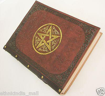 Celtic Leather Bound LARGE Journal Pentagram Embossed Handmade Paper Blank Diary