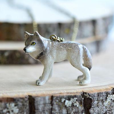 Hand Painted Porcelain Ocelot Cat Necklace Antique Bronze Chain Ceramic Animal