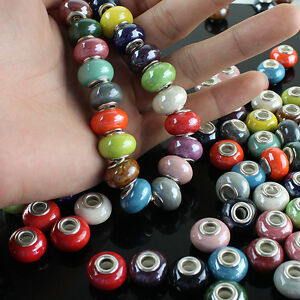 10-Pieces-New-Ceramic-Round-Rondelle-Big-Hole-Silver-Spacer-European-Charm-Beads