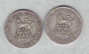 Deux-1916-amp-1919-George-V-argent-sixpences-en-bon-etat-fine