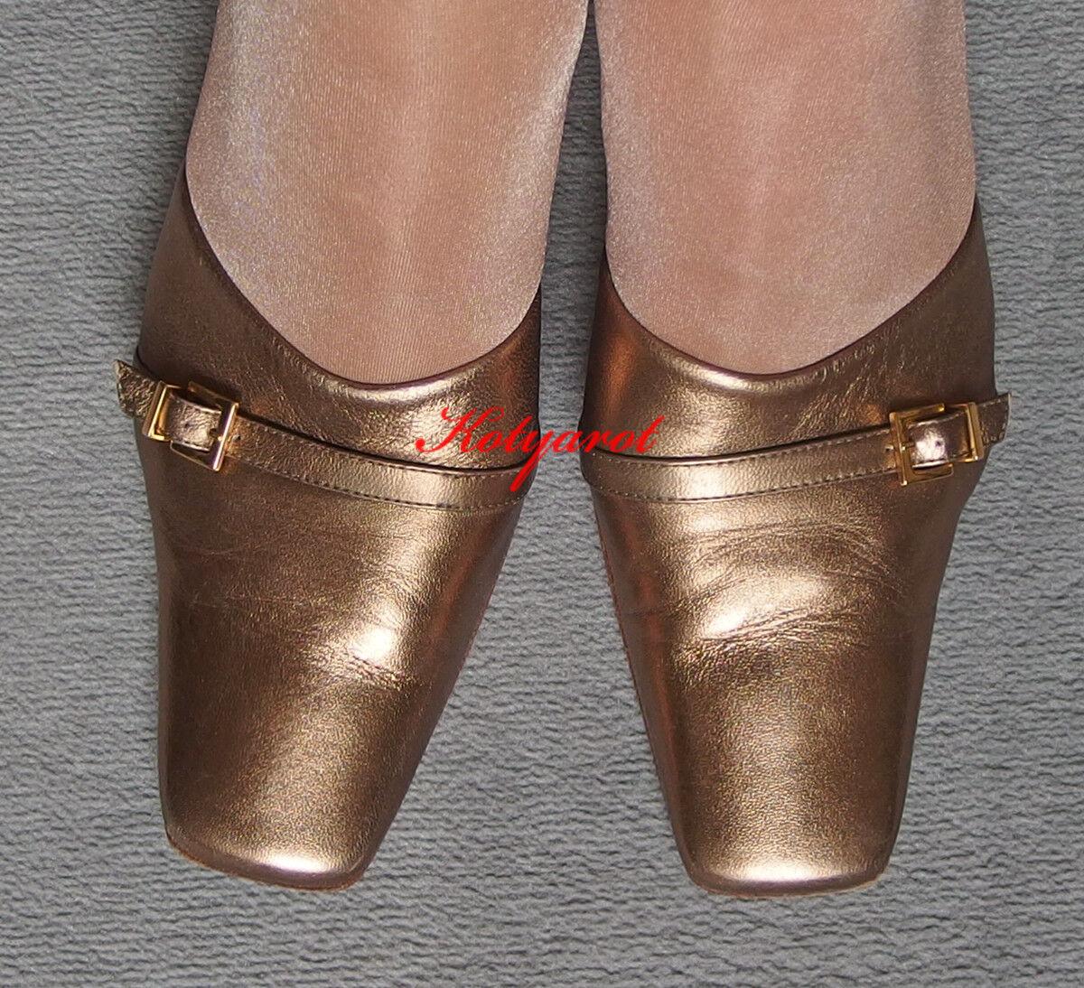 Bruno Magli  Pantoletten Mules echt Leder in Gold Bronze Gr. 38