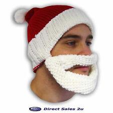 NATALE Babbo Natale Cappello con barba staccabile Unisex Beanie Secret Santa Gift